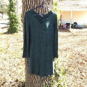 Green ribbed sweater dress